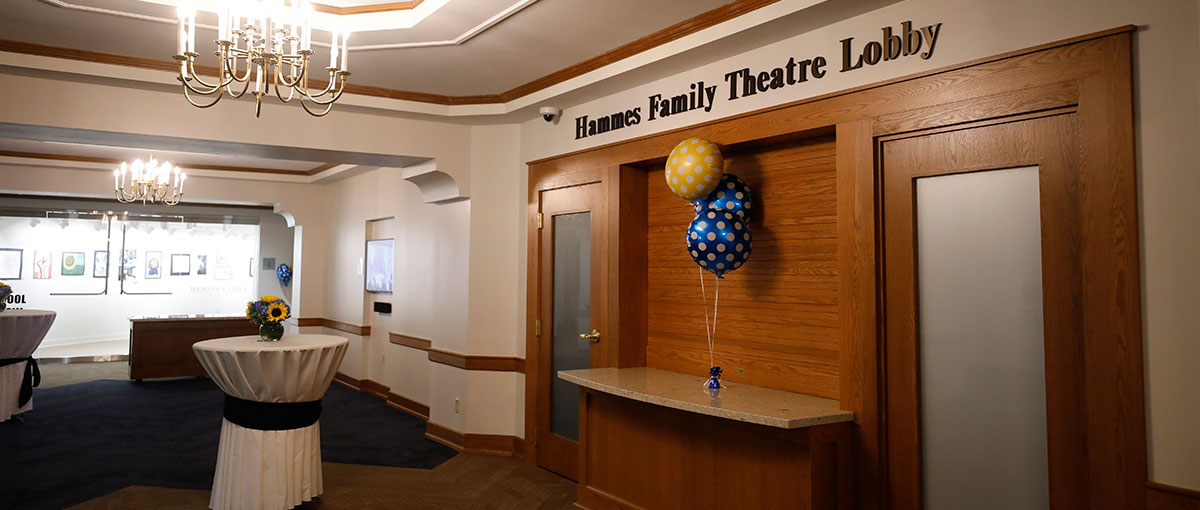 The renovated Hammes Family Theatre Lobby
